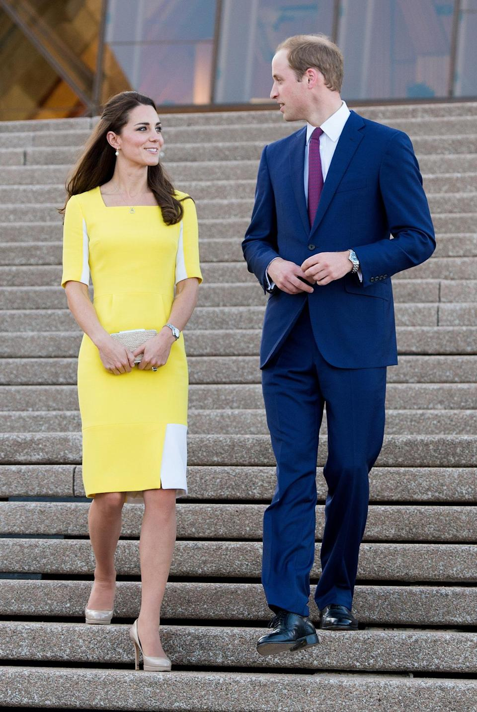 <p>112. April 16, 2014<br>The Duchess wore a lemon dress by Roksanda Ilincic for a trip to the Sydney Opera House. She accessorised with her trusty nude heels and clutch - both from L.K. Bennett. </p><p><i>[Photo: PA]</i></p>