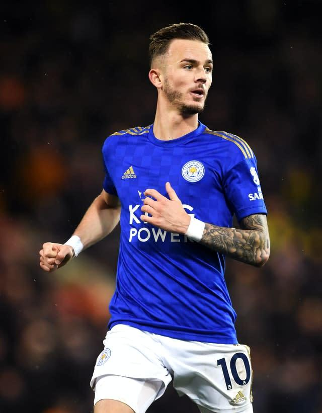 Leicester will check on the fitness of James Maddison (Joe Giddens/PA)