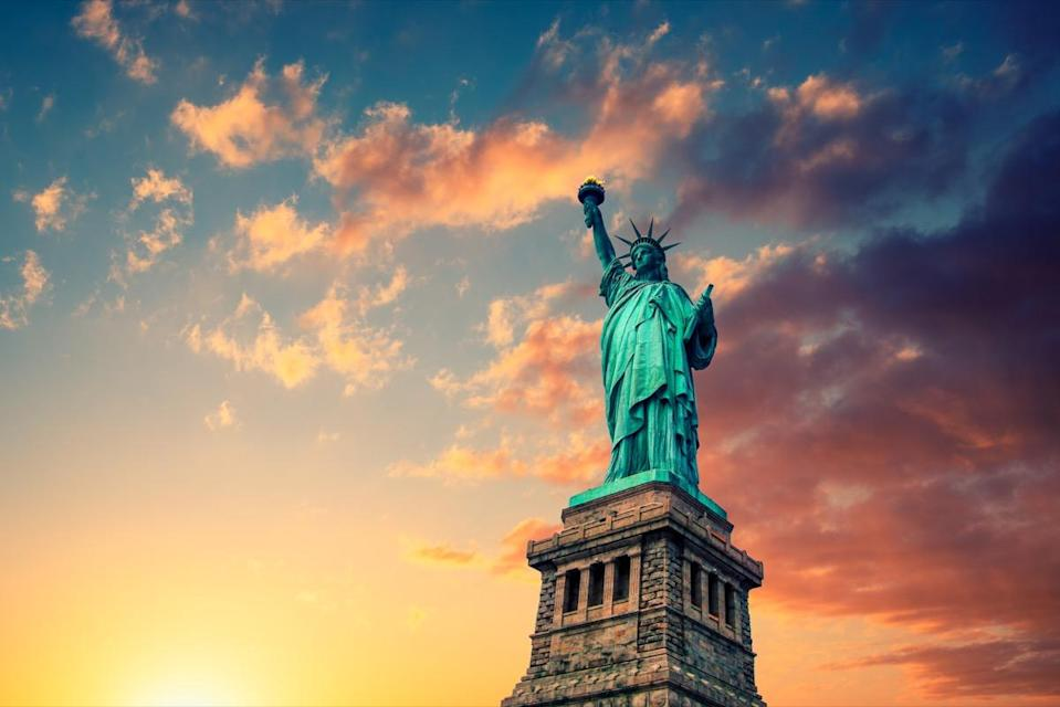 "It's no secret that the Statue of Liberty is a mighty monument. The copper section alone is 151 feet and one inch tall. But if Lady Liberty needed a new pair of sandals, it would take <a href=""https://www.telegraph.co.uk/travel/destinations/north-america/united-states/new-york/articles/statue-of-liberty-fascinating-facts/"" rel=""nofollow noopener"" target=""_blank"" data-ylk=""slk:size 879 shoes"" class=""link rapid-noclick-resp"">size 879 shoes</a> to cover her massive feet."