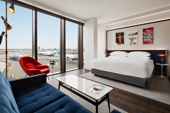 A typical guest room inside the revamped TWA Hotel.
