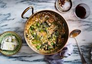"There's no stock in this wintry vegetarian stew recipe—it relies on the starchy bean cooking liquid for its flavor (which is a polite way of saying sorry, but you can't use canned beans here and get the same results). <a href=""https://www.bonappetit.com/recipe/navy-bean-and-escarole-stew-with-feta-and-olives?mbid=synd_yahoo_rss"" rel=""nofollow noopener"" target=""_blank"" data-ylk=""slk:See recipe."" class=""link rapid-noclick-resp"">See recipe.</a>"