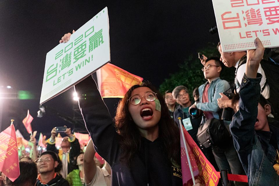 The president of Taiwan Tsai Ing-wen won in the 2020 presidential election. Democratic Progressive Party supporters celebrated in Taipei on January 11, 2020 (Photo by Yat Kai Yeung/NurPhoto via Getty Images)