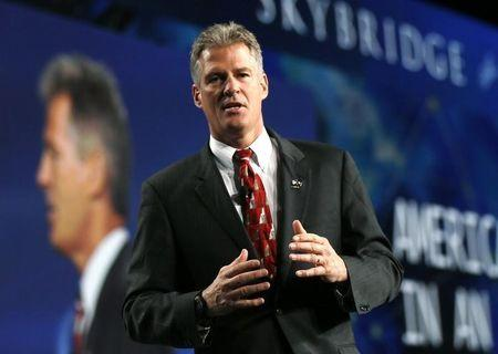 Former U.S. senator Scott Brown speaks at the SALT conference in Las Vegas