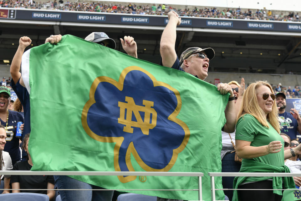 Irish fans cheer during the first half of a Notre Dame game in 2019. (Roy K. Miller/Icon Sportswire via Getty Images)
