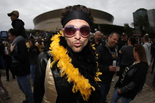 <p>A New Orleans Saints fan is seen prior to the NFC Wild Card playoff game between the New Orleans Saints and the Carolina Panthers at the Mercedes-Benz Superdome on January 7, 2018 in New Orleans, Louisiana. (Photo by Jonathan Bachman/Getty Images) </p>