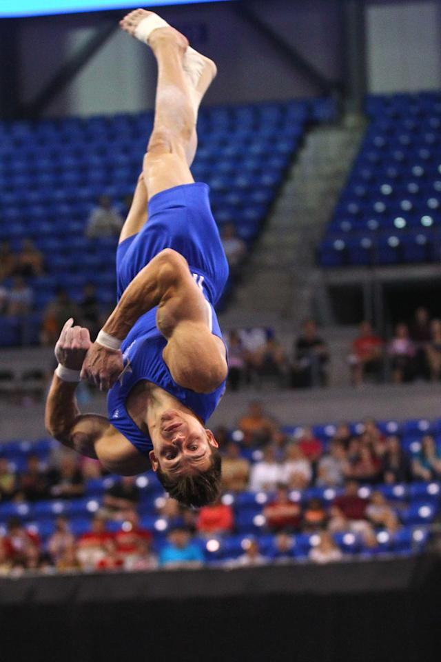 ST. LOUIS, MO - JUNE 9: Chris Brooks competes in the floor event during the Senior Men's competition on Day Three of the Visa Championships at Chaifetz Arena on June 9, 2012 in St. Louis, Missouri. (Photo by Dilip Vishwanat/Getty Images)