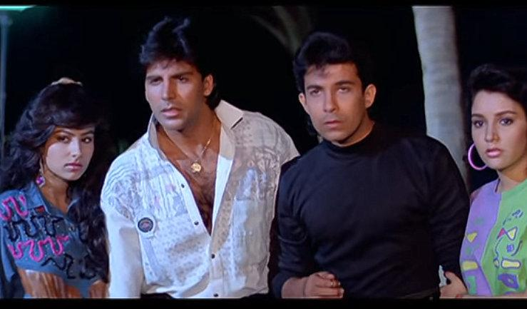 <p>The main characters of the movie: Neelam (Ayesha Jhulka), Raj (Akshay Kumar), Boney (Deepak Tijori) and Sheetal (Sabeeha). </p>