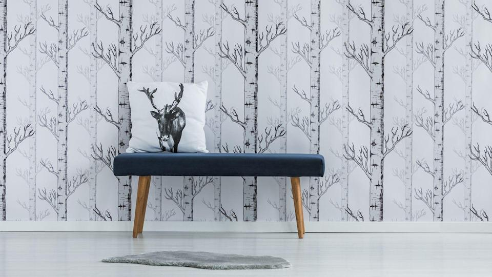 custom wallpaper with bench and pillow in modern home