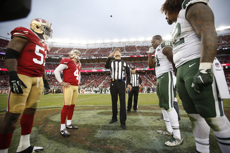 Spot and Choose would make the overtime coin flip a lot more interesting. (Pre-COVID photo by Michael Zagaris/San Francisco 49ers/Getty Images)