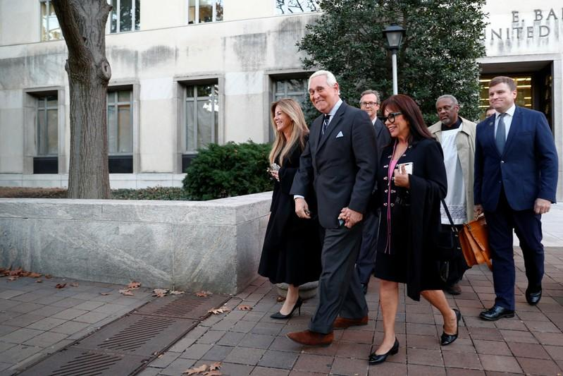 Former Trump campaign adviser Stone departs following the second day of his criminal trial at U.S. District Court in Washington