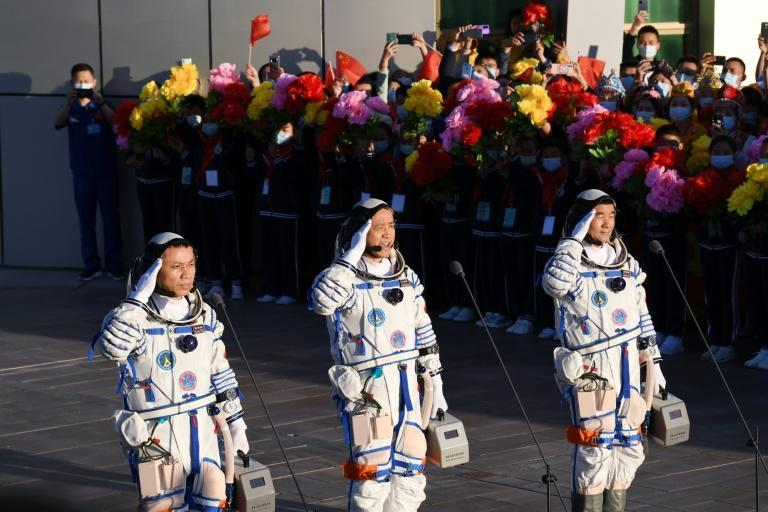 The launch of Beijing's first crewed mission in nearly five years coincided with the 100th anniversary of the ruling Communist Party (AFP/GREG BAKER)