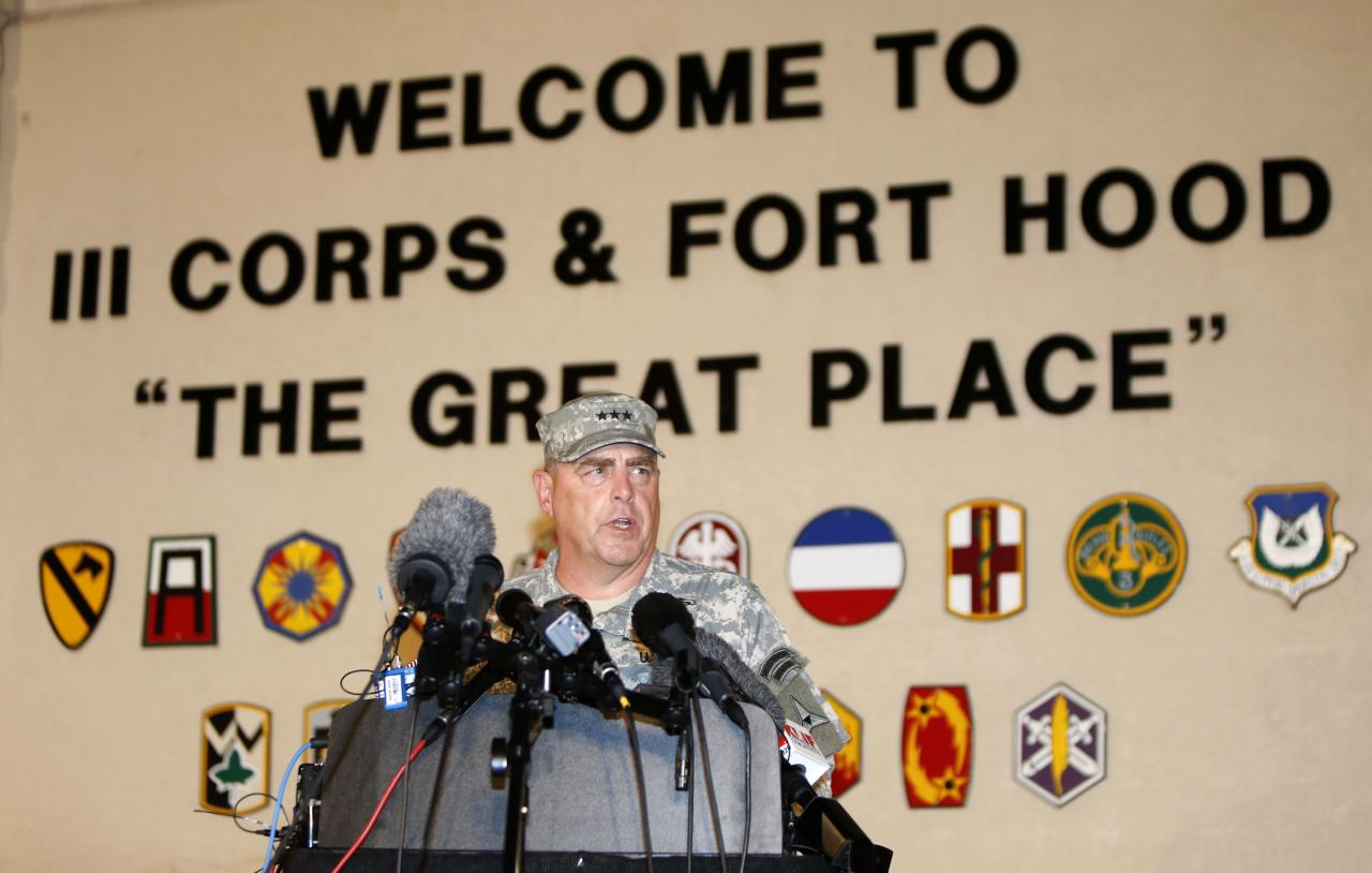 Lt. Gen. Mark Milley addresses the media during a news conference at the entrance to Fort Hood Army Post in Texas April 2, 2014. A U.S. soldier shot dead three people and injured at least 16 on Wednesday before taking his own life at an Army base in Fort Hood, Texas, the site of another deadly rampage in 2009, U.S. officials said. The soldier, who was being treated for mental health problems, drove to two buildings on the base and opened fire before he was stopped by military police, in an incident that lasted between 15 and 20 minutes, Fort Hood commanding officer Milley said. REUTERS/Erich Schlegel (UNITED STATES - Tags: CRIME LAW MILITARY TPX IMAGES OF THE DAY)