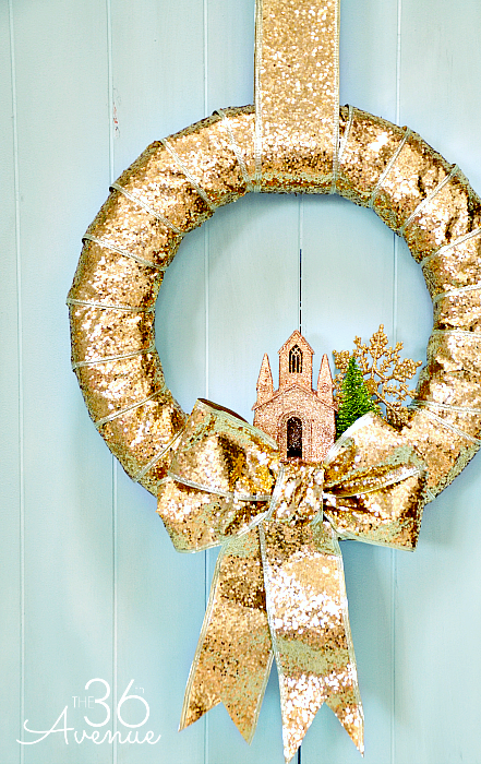 "<p>A sparkling church ornament is the perfect finishing touch on this wreath that shines from every angle.<br></p><p><em><a href=""http://www.the36thavenue.com/christmas-wreath-tutorial/"" rel=""nofollow noopener"" target=""_blank"" data-ylk=""slk:Get the tutorial at The 36th Avenue »"" class=""link rapid-noclick-resp"">Get the tutorial at The 36th Avenue »</a></em></p>"