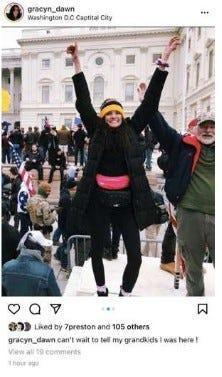 Gracyn Courtright posted this photo of herself on her Instagram account just outside the U.S. Capitol during the riot on Jan. 6, the FBI says in an affidavit. Later photos identify Courtright inside the Capitol, agents said.