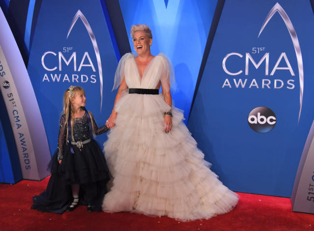 """Pink attended the CMA Awards to promote her new album, """"Beautiful Trauma"""" and perform her song """"Barbies"""" as the featured pop-star guest. (Harrison McClary / Reuters)"""