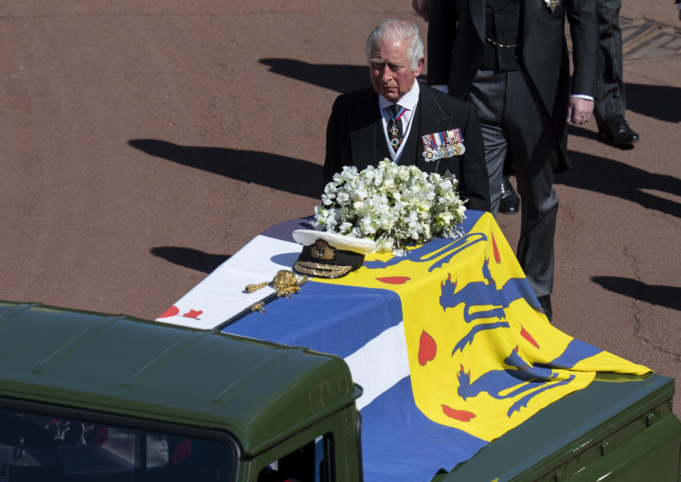WINDSOR, ENGLAND - APRIL 17: Prince Charles, Prince of Wales during the funeral of Prince Philip, Duke of Edinburgh on April 17, 2021 in Windsor, England. Prince Philip of Greece and Denmark was born 10 June 1921, in Greece. He served in the British Royal Navy and fought in WWII. He married the then Princess Elizabeth on 20 November 1947 and was created Duke of Edinburgh, Earl of Merioneth, and Baron Greenwich by King VI. He served as Prince Consort to Queen Elizabeth II until his death on April 9 2021, months short of his 100th birthday. His funeral takes place today at Windsor Castle with only 30 guests invited due to Coronavirus pandemic restrictions. (Photo by UK Press Pool/UK Press via Getty Images)