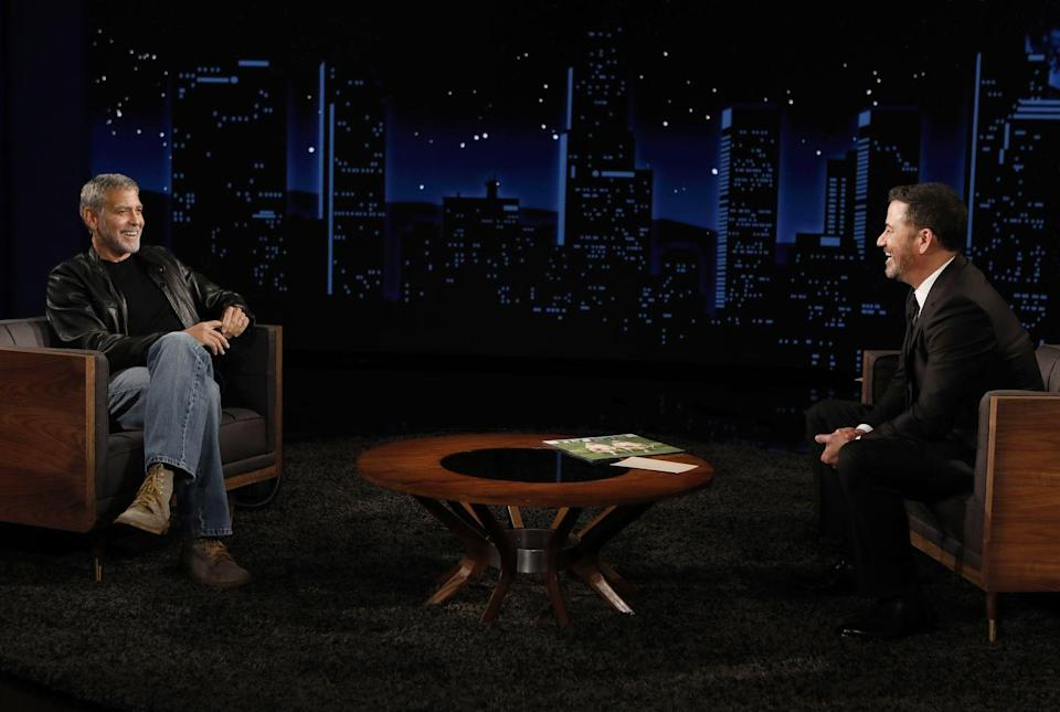 <p>Clooney appears on a socially-distanced episode of <em>Jimmy Kimmel Live </em>on December 2, 2020 to discuss directing his film, <em>Midnight Sky.</em></p>