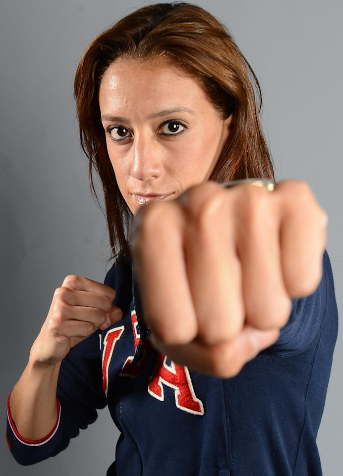 Diana Lopez of the US Taekwondo Olympic team poses for pictures during the 2012 Team USA Media Summit on May 13, 2012 in Dallas,Texas.AFP PHOTO/JOE KLAMARJOE KLAMAR/AFP/GettyImages