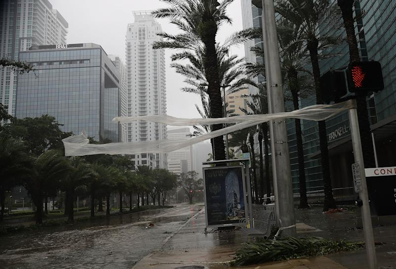 High winds blow through Brickell Avenue.