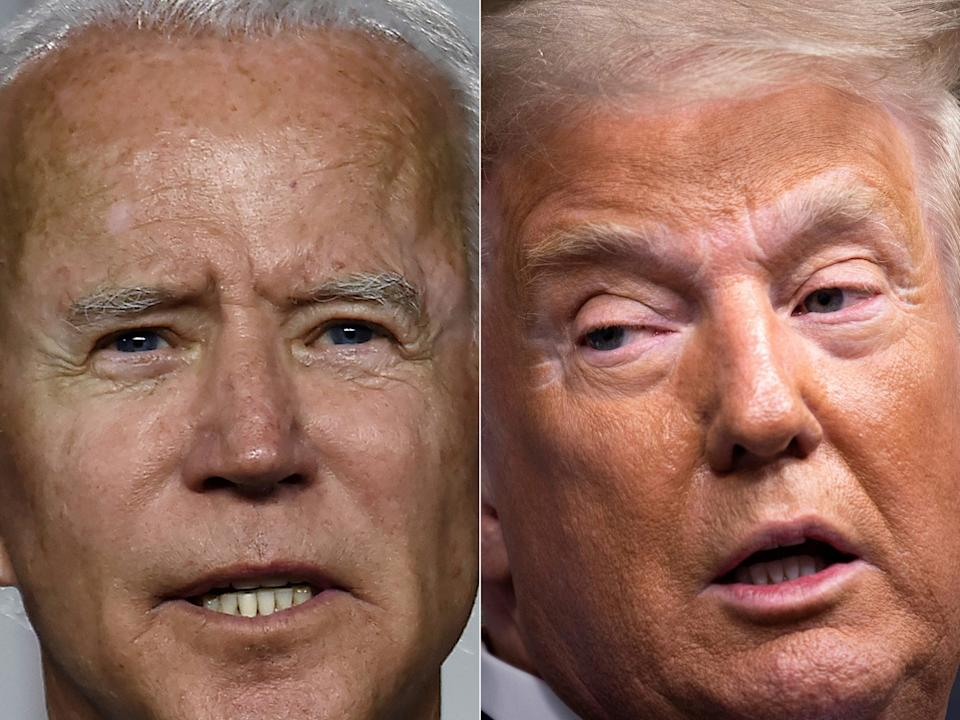Biden leads Trump in new poll for his handing of the coronavirus as it is revealed majority of voters do not care about Amy Coney Barrett's nomination (AFP via Getty Images)