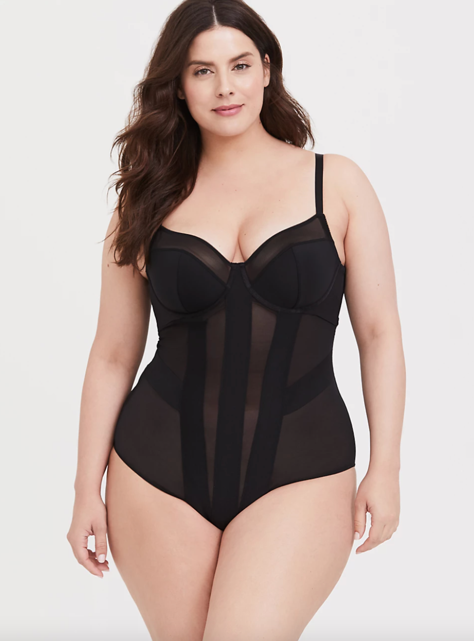 Mesh Strappy Bodysuit in Black (Photo via Torrid)