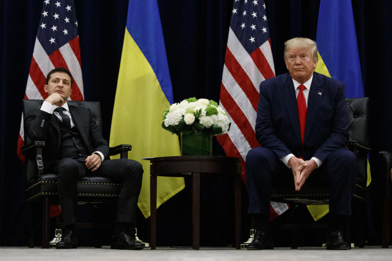 President Donald Trump meets with Ukrainian President Volodymyr Zelenskiy at the InterContinental Barclay New York hotel during the United Nations General Assembly, Wednesday, Sept. 25, 2019, in New York. (Photo: Evan Vucci)/AP