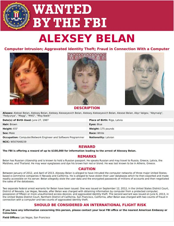 This image provided by the FBI shows the wanted poster for Alexsey Belan. (FBI via AP)