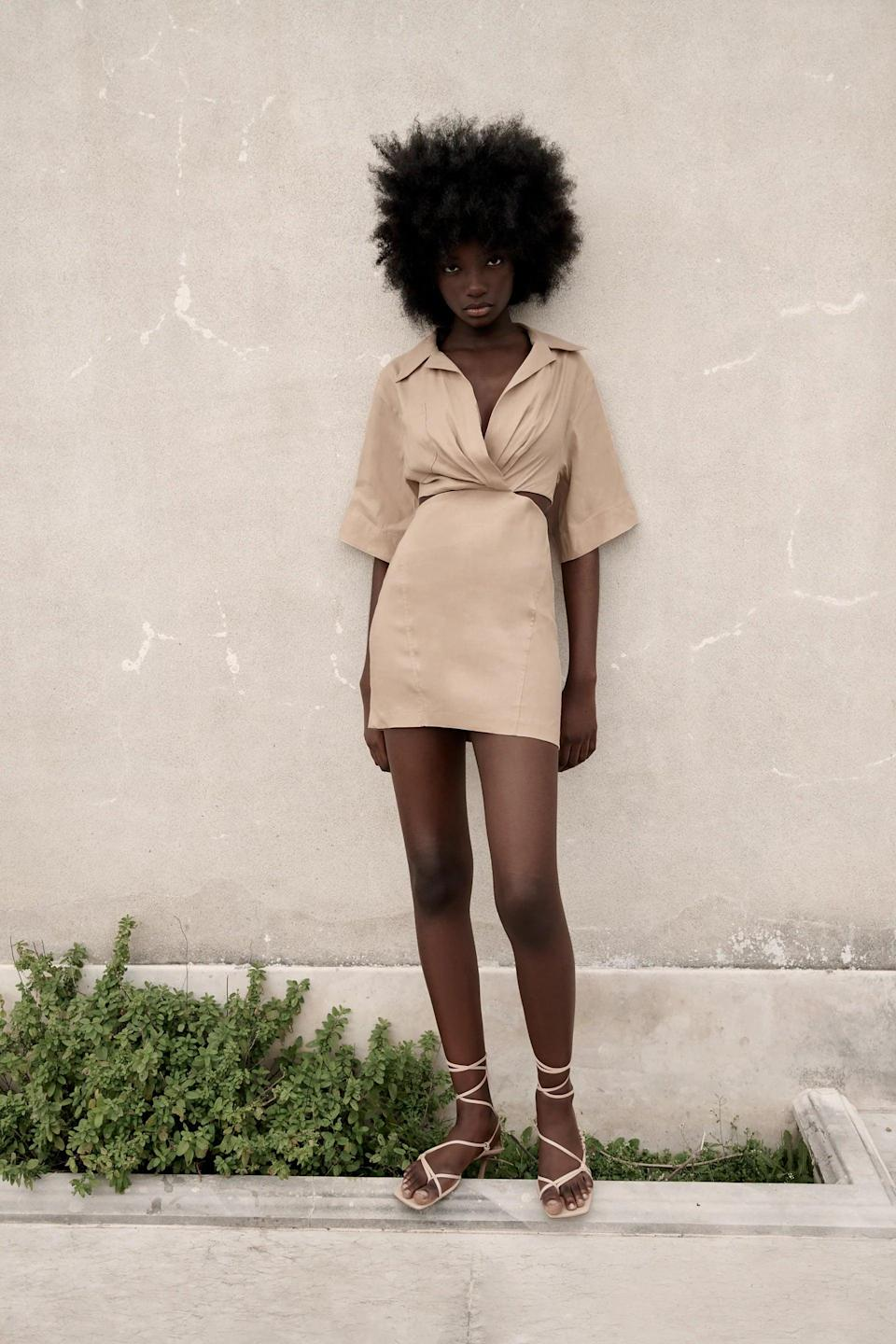 <p>This <span>Zara Cut Out Mini Dress</span> ($70) is so chic and easy to wear.</p>