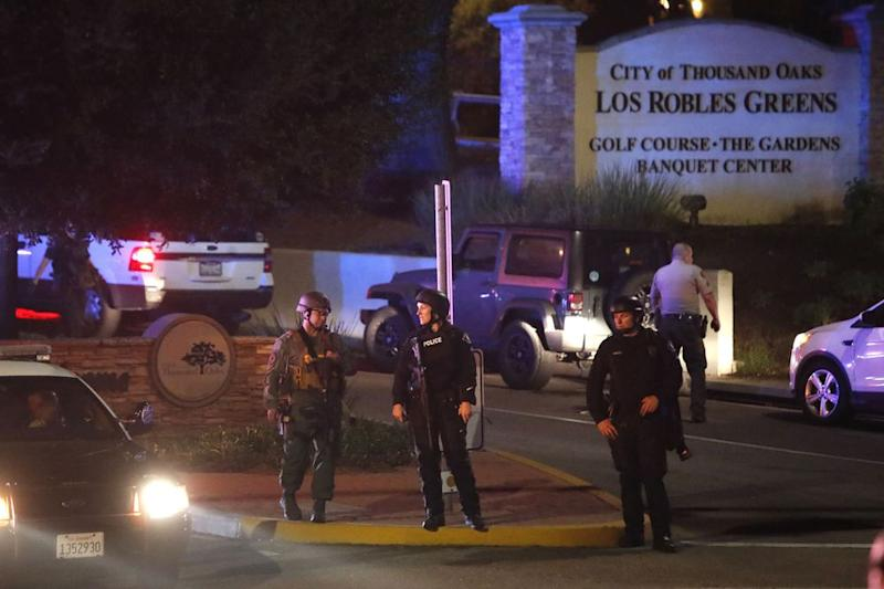 The scene outside a Thousand Oaks, California, bar where a gunman opened fire on Wednesday