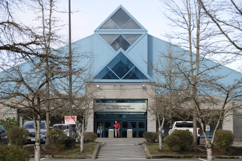 The King County Aquatic Center is viewed Friday, Feb. 9, 2018, in Federal Way, Wash. The facility is one of several pools where swimmers with the KING Aquatic Club train and compete. Sean Hutchison, who was the head coach of club between 2002 and 2012, stepped down as CEO of the swim club this week after Olympic swimmer Ariana Kukors accused him of sexually abusing her starting when she was 16 and when he was her coach. Hutchison has denied the allegations and said the two were in a consensual relationship after the 2012 Olympics. (AP Photo/Ted S. Warren)