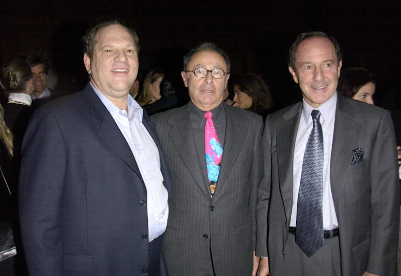 Harvey Weinstein, Peter Bart and Mort Zuckerman celebrate the release of Bart's book <i>Dangerous Company</i> at the Four Seasons Hotel in New York City. (J. Countess via Getty Images)