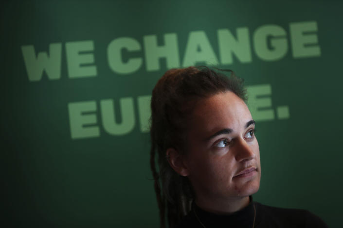 German boat captain Carola Rackete listens to questions during a news conference after attending a Civil Liberties and Justice Committee at the European Parliament in Brussels, Thursday, Oct. 3, 2019. (AP Photo/Francisco Seco)