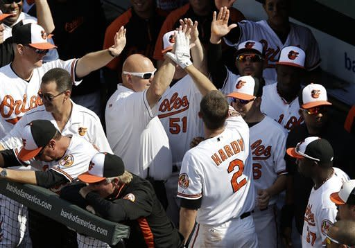 Baltimore Orioles' J.J. Hardy (2) high-fives teammates in the dugout after hitting a solo home run in the third inning of a baseball game against the Boston Red Sox in Baltimore, Sunday, Sept. 30, 2012. (AP Photo/Patrick Semansky)