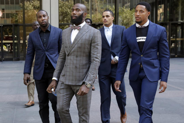 From left, former NFL player Anquan Boldin, the Philadelphia Eagles' Malcolm Jenkins, the Miami Dolphins' Kenny Stills and  the San Francisco 49ers' Eric Reid, leave NFL headquarters after meetings on Oct. 17. (AP)