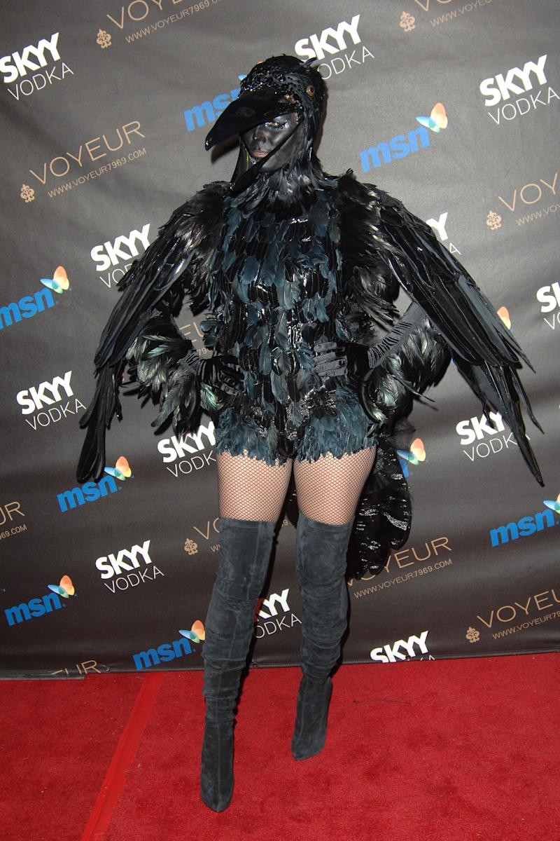 Heidi Klum dressed as a crow attends Heidi Klum's 10th annual Halloween Party at Voyeur on October 31, 2009 in West Hollywood, CA. Photo courtesy of Getty Images.