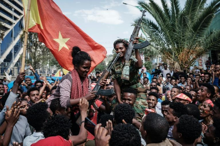 Women soldiers from the Tigray Defence Force celebrate as they return to Mekele