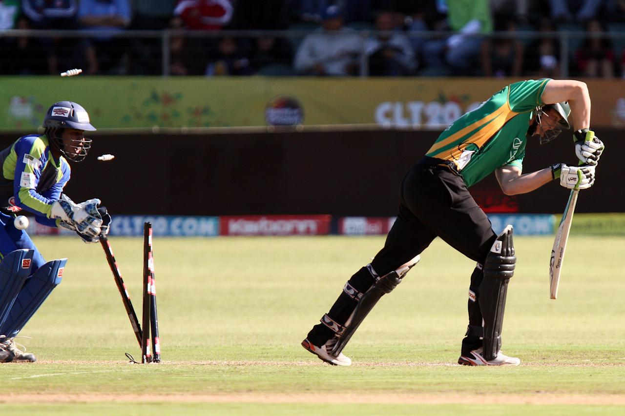 PORT ELIZABETH, SOUTH AFRICA - SEPTEMBER 22:  George Worker bowled during the Airtel Champions League Twenty20 match between Wayamba Elevens and Central Stags at Axxess DSL St Georges Park on September 22, 2010 in Port Elizabeth, South Africa.  (Photo by Richard Huggard/Gallo Images/Getty Images)