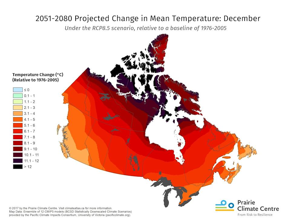 Projected temperature changes for Canada between 2051-2080. Graphic from the Prairie Climate Centre