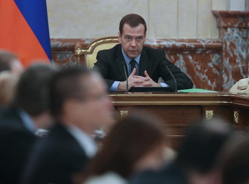 Russian Prime Minister Dmitry Medvedev chairs a meeting in Moscow, on February 10, 2016