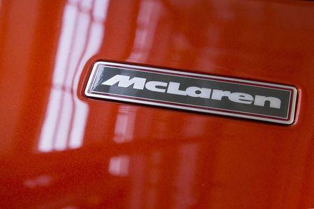The nameplate is seen on the hood of a McLaren F-1 LM-Specification car at Sotheby's in New York June 3, 2015. REUTERS/Brendan McDermid