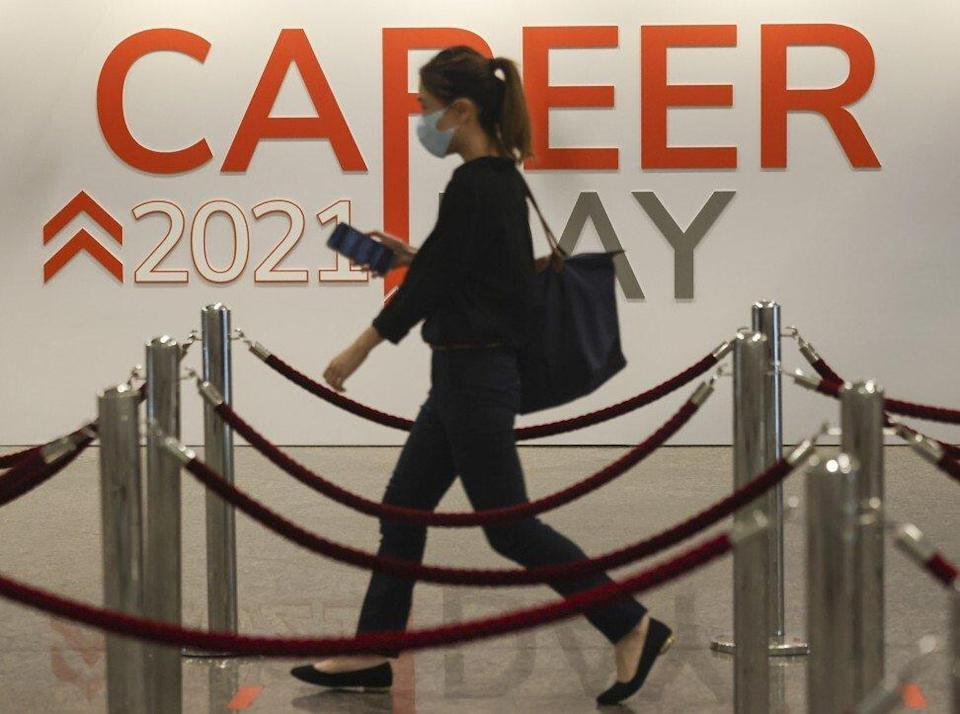 Jobseekers attend a career day at the Hong Kong Convention and Exhibition Centre in May. Photo: Nora Tam