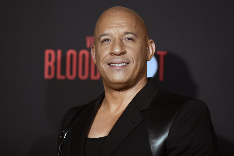 "Vin Diesel attends the LA premiere of ""Bloodshot,"" at the Regency Westwood Theatre, Tuesday, March 10, 2020, in Los Angeles. (Photo by Richard Shotwell/Invision/AP)"