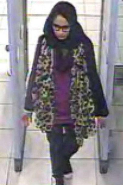 PHOTO: This file handout photo taken on February 17, 2015 a video grab taken from CCTV, received from the Metropolitan Police Service (MPS) on February 23, 2015, shows Shamima Begum passing through security barriers at Gatwick Airport, south of London. (-/METROPOLITAN POLICE/AFP via Gett)