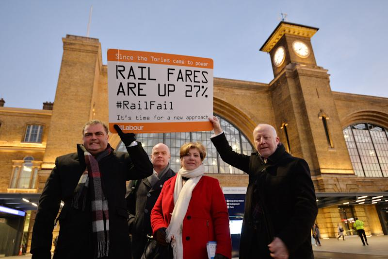 TSSA union leader Manuel Cortes, Emily Thornberry and Andy McDonald at King's Cross. (PA Archive/PA Images)