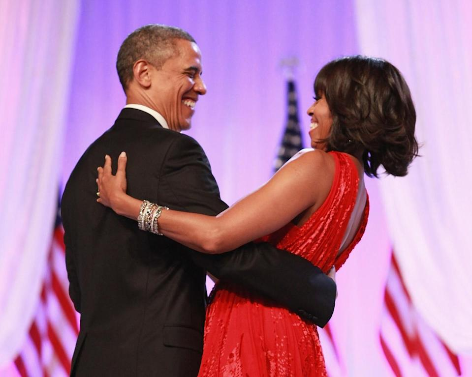 <p>When they laughed and danced at the Inaugural Ball after he was re-elected in 2012. [Photo: Getty/Taylor Hill]</p>