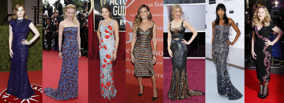 This combination of photos shows celebrities, from left, Amy Adams, Nicole Kidman, Shailene Woodley, Sarah Jessica Parker, Nicole Kidman, Naomi Campbell and Madonna wearing dresses by designer L'wren Scott. The dresses are among 55 creations going on sale this week at Christie's in London as part of the L'Wren Scott Collection. (AP Photo)