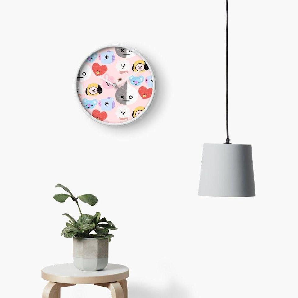 """<p>redbubble.com</p><p><strong>$31.06</strong></p><p><a href=""""https://go.redirectingat.com?id=74968X1596630&url=https%3A%2F%2Fwww.redbubble.com%2Fi%2Fclock%2FBTS21-Line-Character-In-Pastel-by-catsenpai%2F29738983.7PFC0%3Fcountry_code%3DUS%26gclid%3DCjwKCAiAzNj9BRBDEiwAPsL0d_riPzkEqAq5rS3VF0I6HecLzpyniQfxFGgdJ91KWxSc0uxtj7xo9xoCWswQAvD_BwE%26gclsrc%3Daw.ds&sref=https%3A%2F%2Fwww.seventeen.com%2Fcelebrity%2Fmusic%2Fg28380571%2Fbts-gifts%2F"""" rel=""""nofollow noopener"""" target=""""_blank"""" data-ylk=""""slk:Shop Now"""" class=""""link rapid-noclick-resp"""">Shop Now</a></p><p>For the person who loses track of time daydreaming about the boys all do, this clock decorated with all the BT21 characters will become their new favorite bedroom decor. </p>"""