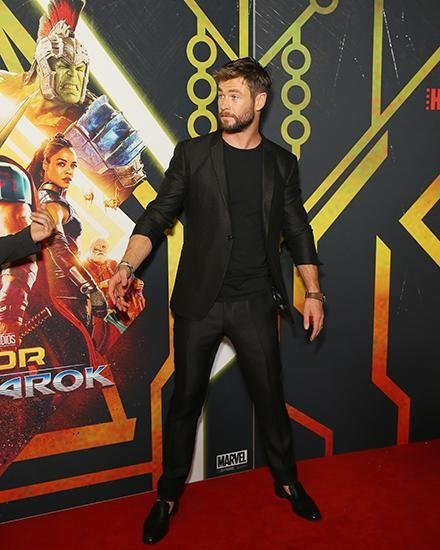Chris walked the red carpet at the premiere on Sunday. Source: Getty