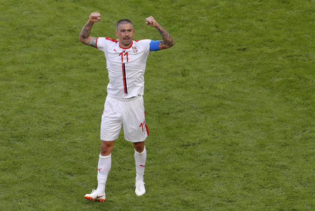 Serbia's Aleksandar Kolarov celebrates after scoring his side's first goal during the group E match between Costa Rica and Serbia at the 2018 soccer World Cup in the Samara Arena in Samara, Russia, Sunday, June 17, 2018. (AP Photo/Vadim Ghirda)