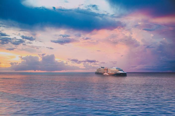 """A rendering of Celebrity Beyond, a sister ship to the Celebrity Edge and the third ship in  Celebrity Cruises' """"Edge Series."""""""